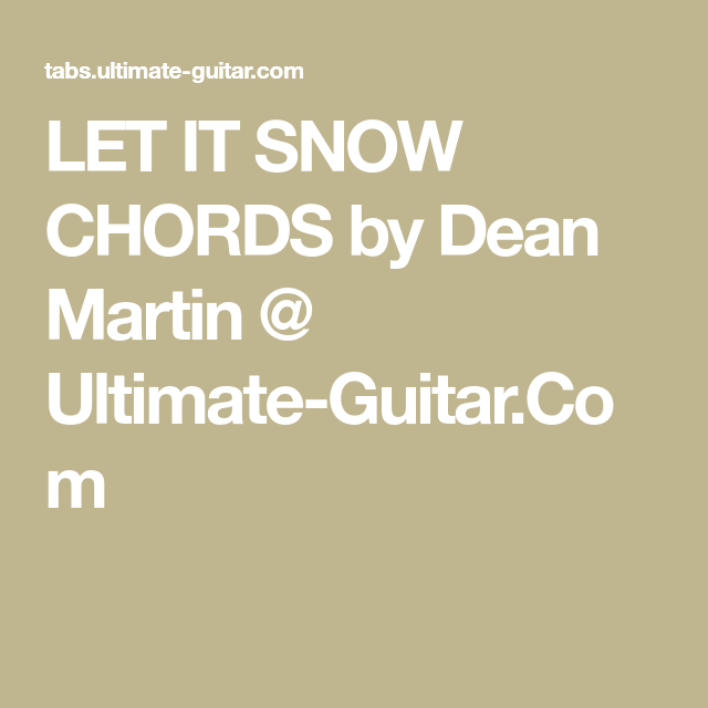 Dean Guitars Ukulele Travel Uke: Dean Martin - Let It Snow (Chords)