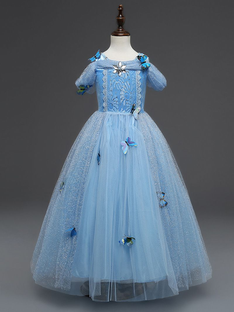 Kids Girl Cinderella Princess Party Fancy Child Fairy Tutu Dress Cosplay Costume