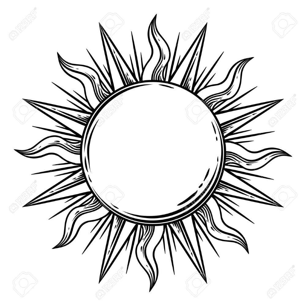 Bohemian Sun Vector Tattoo Hand Drawn Illustration In 2020 Sun Tattoo Designs Hand Tattoos Sun Tattoo