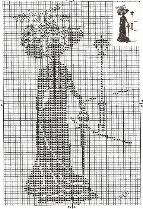 point de croix femme époque victorienne vintage - cross stitch ...