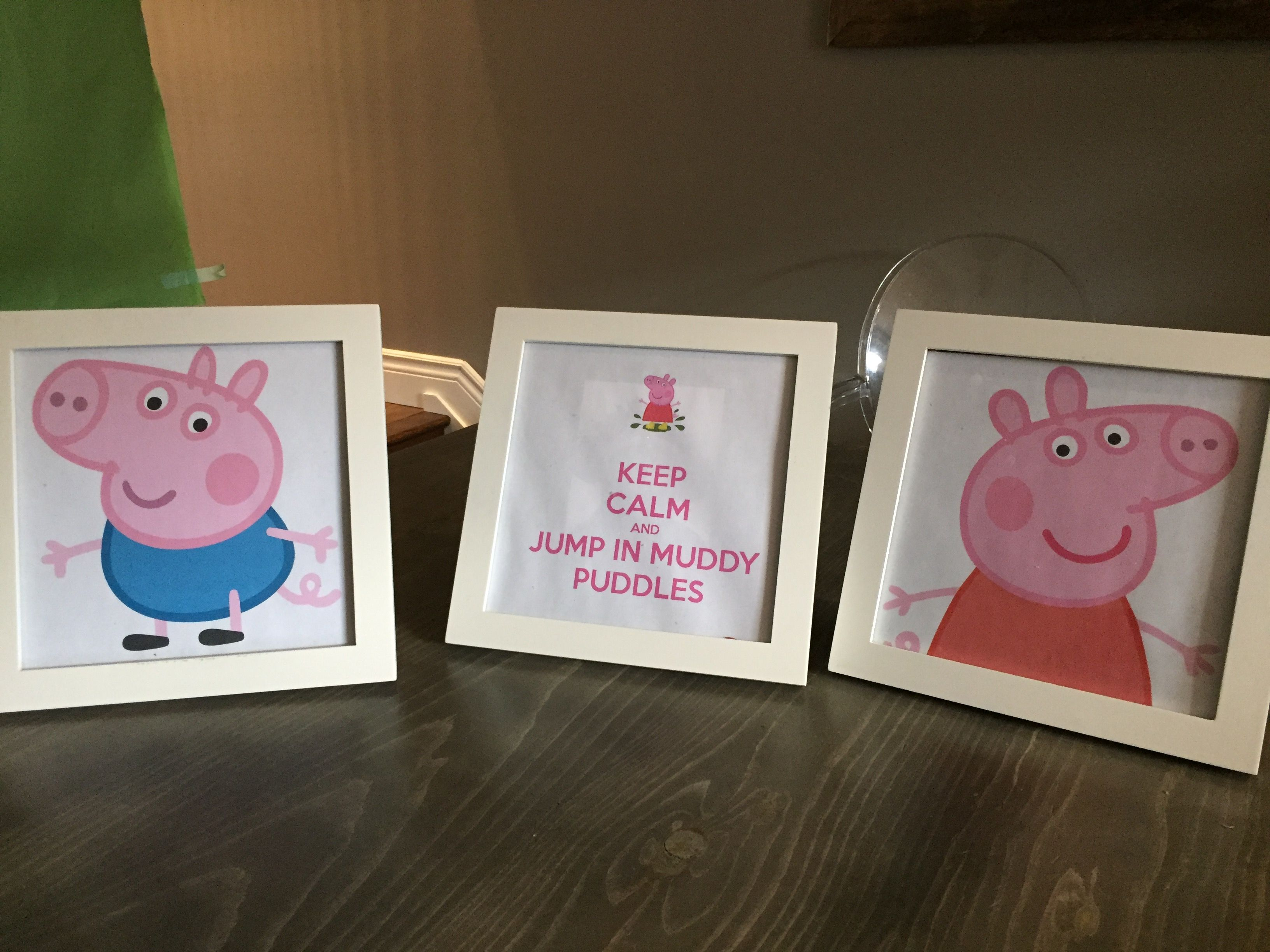 I printed out larger scale Peppa and George images, plus a free jpeg ...