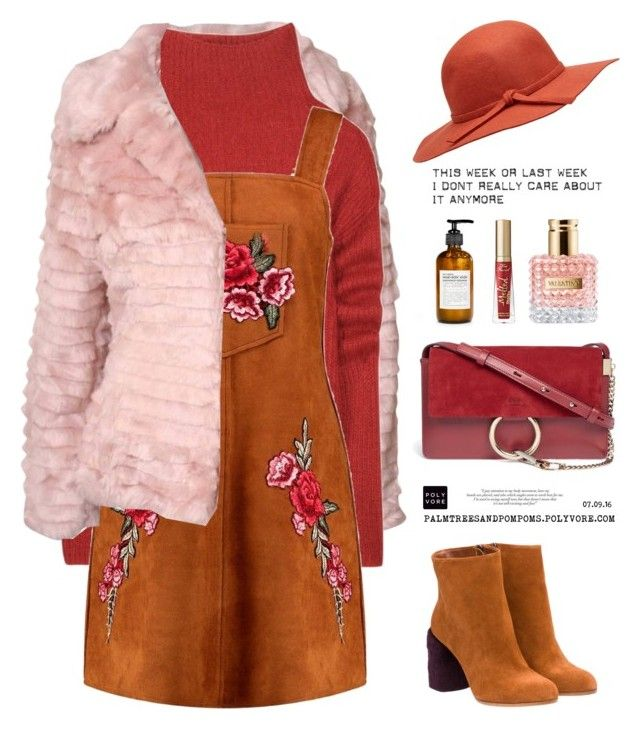 """""""07.09.16 Autumn Thursdays / Boohoo Boutique  Crisa Embroidered Suede Pinafore Dress"""" by palmtreesandpompoms ❤ liked on Polyvore featuring Miu Miu, Pilot, Haider Ackermann, Boohoo, Chloé, Monday, Fig+Yarrow, Valentino, Too Faced Cosmetics and boohoo"""