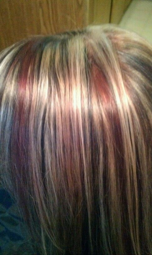 Dark Drown Shadow Box With Red Lowlights Blonde Highlights