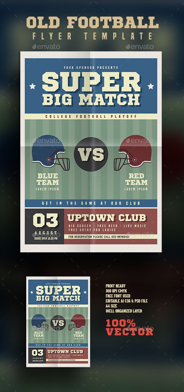 Old America Football Flyer Flyer template, Template and Psd templates
