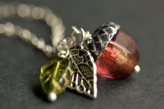 Acorn Necklace. Sunset Berry Crystal Acorn Pendant. Crystal Necklace. Silver Acorn Charm Necklace. Red Acorn Jewelry Handmade Jewelry. by StumblingOnSainthood from Stumbling On Sainthood. Find it now at http://ift.tt/1MufPut!