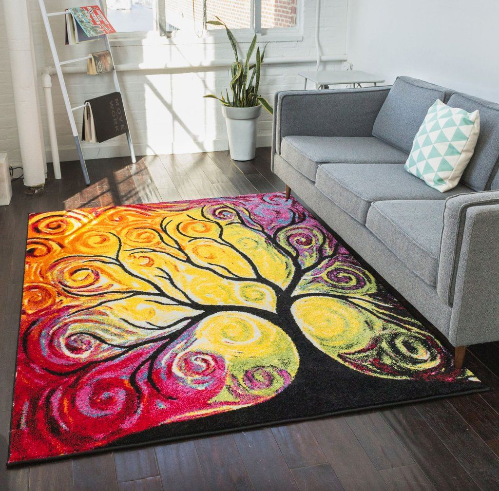 Fairytale Multi Yellow Orange Red Nature Modern Abstract Painting Area Rug