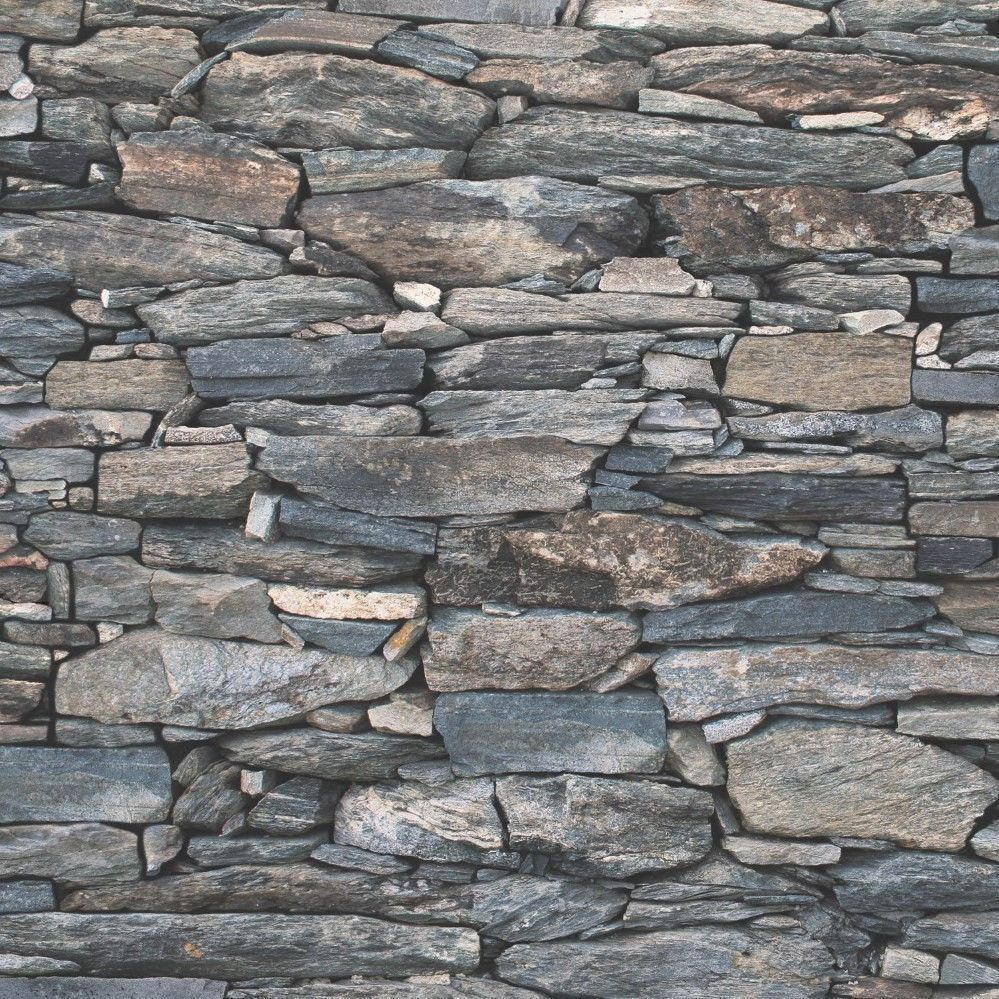 6 99 Gbp Natural Stone Slate Wall Charcoal Realistic 3d Effect Feature Wallpaper 1281 Ebay Home Ga Stone Wallpaper Dry Stone Wall Brick Effect Wallpaper