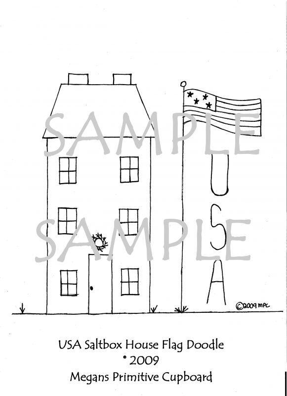 """Primitive Stitchery Pattern /""""USA House!/"""""""