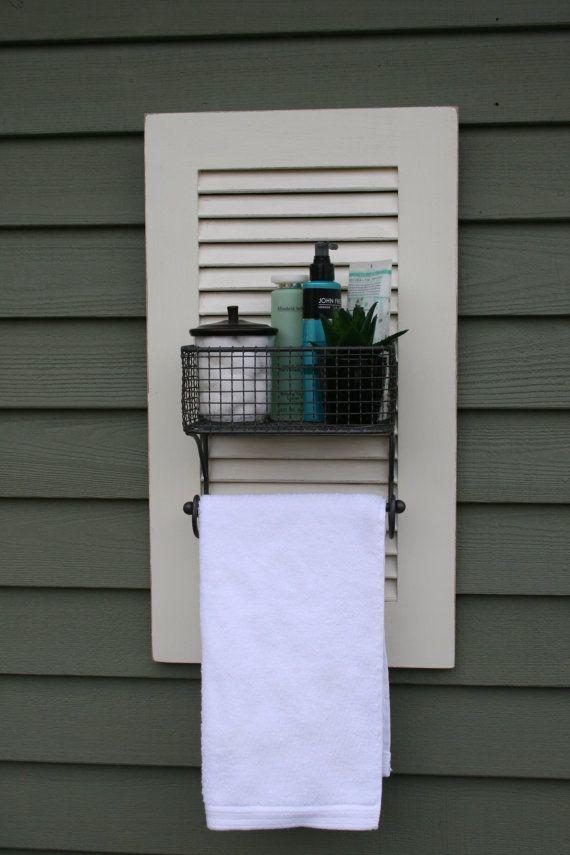 Vintage Shutter w/ Metal Basket/Towel Rack/Cottage Chic