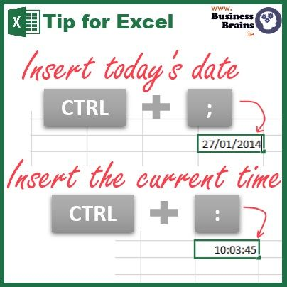 Microsoft Excel » Insert the current date or time quickly without looking at your watch with today's Excel tip » Business Brains