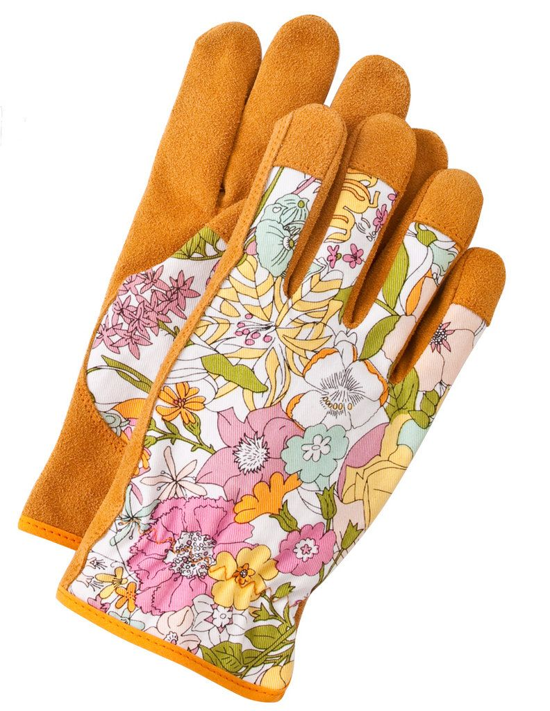 Gardening Gloves With Good Tough Leather Palms And A Cute, Light Fabric On  The Back.