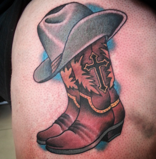 country boots and cowboy hat tattoo by carlos zucato inked tattoo cowboy hat boots. Black Bedroom Furniture Sets. Home Design Ideas