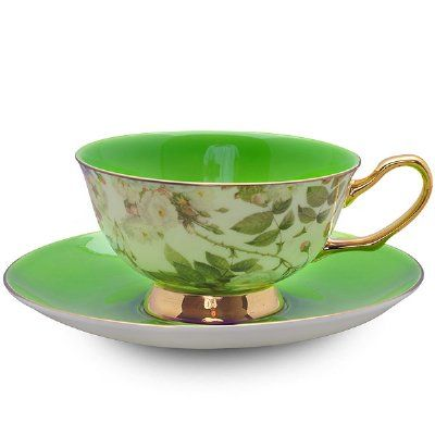 Real Green Chintz Cup and Saucer with Gift Box