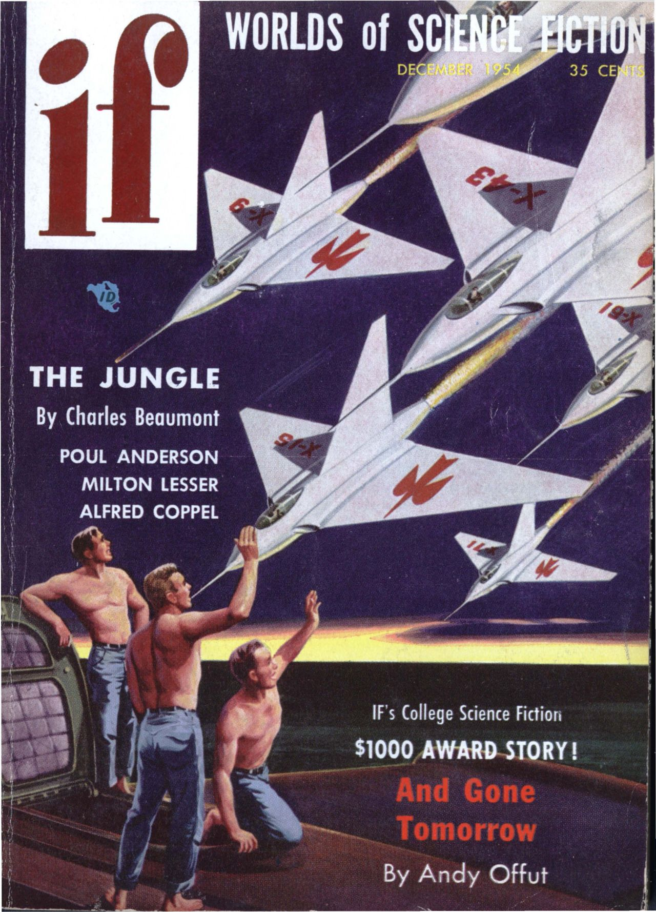 """Ifvol 4 no 4, December 1954. Cover by Anton Kurka illustrating""""First Stage: Moon"""" byDick Hetschel."""