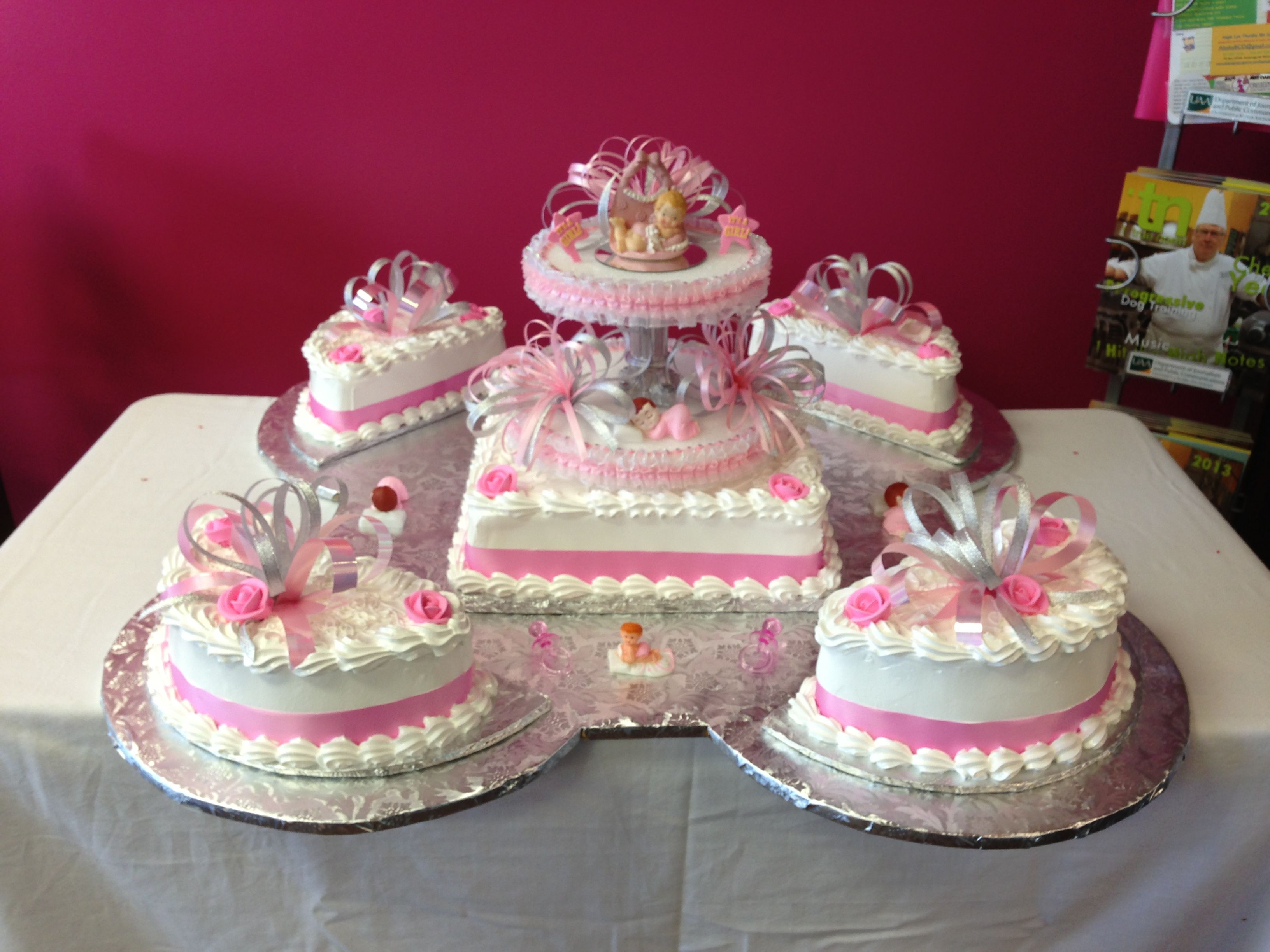 Girl Large Baby Shower Cake Pink And White