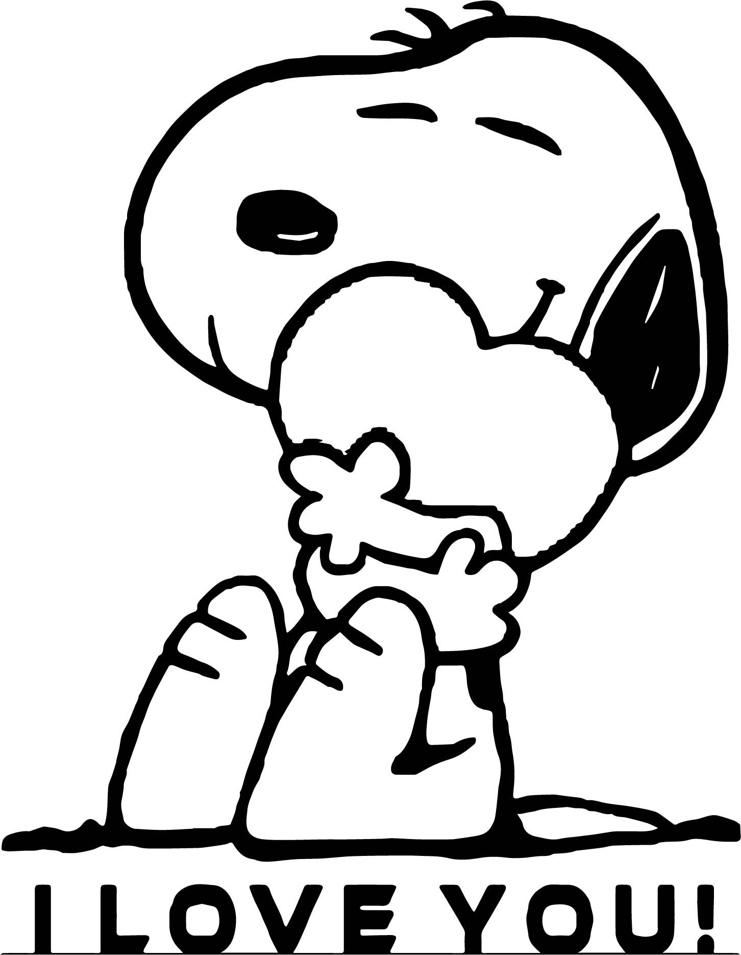 Cool Snoopy I Love You Coloring Page Snoopy Coloring Pages