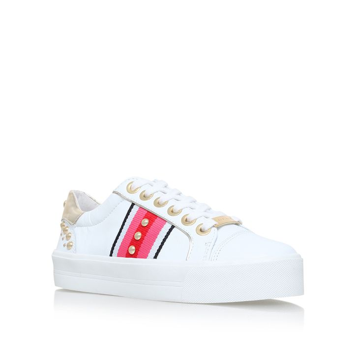Lax White Flat Lace Up Trainers By