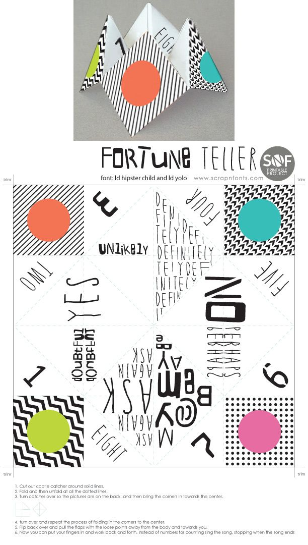 cute printable fortune teller diy tips pinterest fortune teller. Black Bedroom Furniture Sets. Home Design Ideas