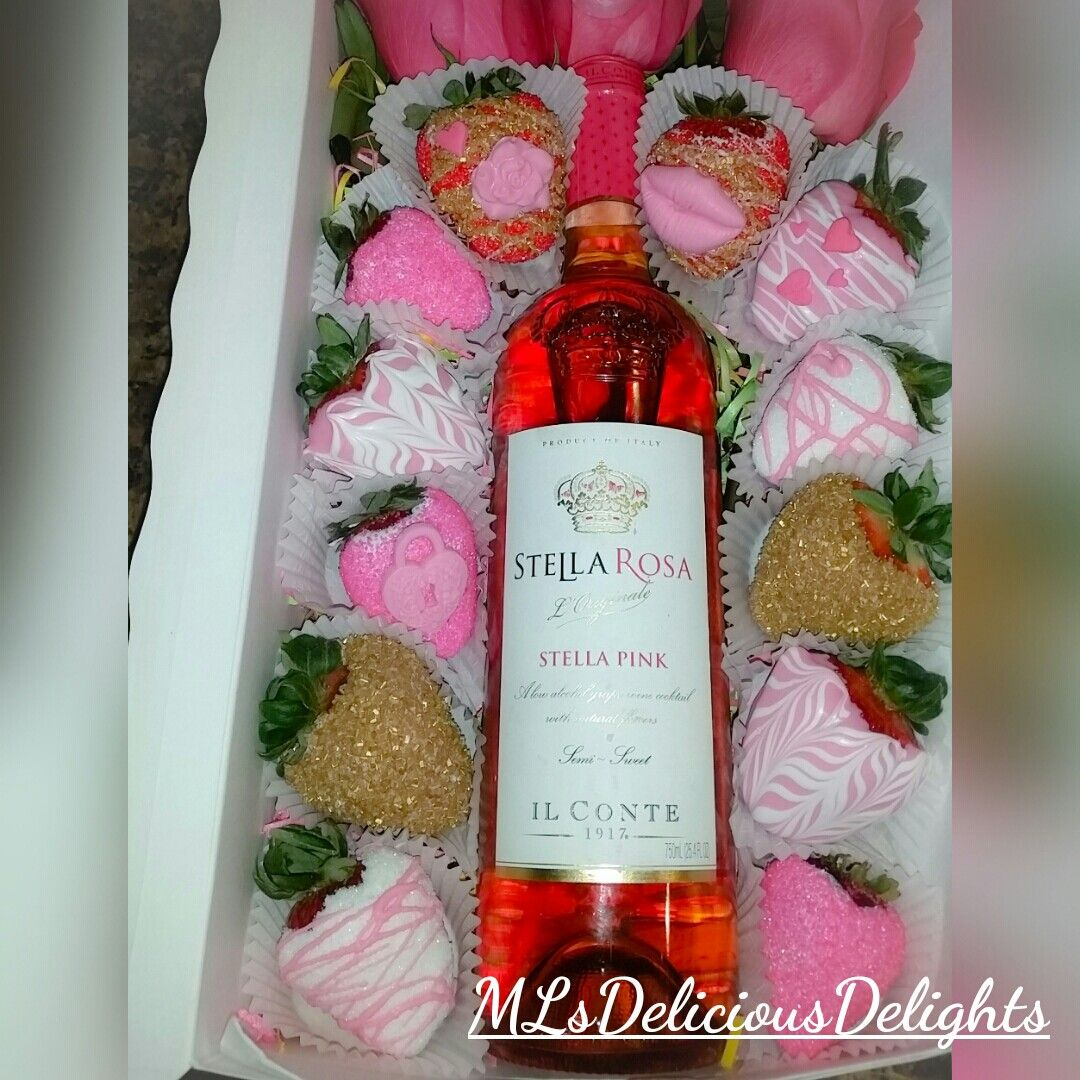 Strawberries Covered In Chocolate Roses Wine The Perfect Gift For Your Loved One Wine Bottle Rose Wine Bottle Wine