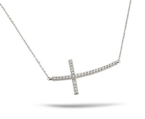 Sterling Silver Rhodium Plated Sideways 1.5 Inch Curved Cz Cross Necklace 16 Inch Plus 1 Inch Adjustable Chain  http://9crossnecklace.com/sterling-silver-rhodium-plated-sideways-1-5-inch-curved-cz-cross-necklace-16-inch-plus-1-inch-adjustable-chain/