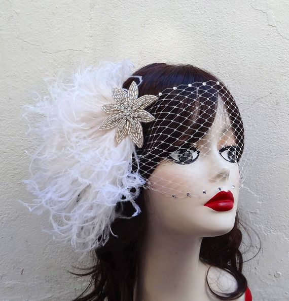 Crystal And White Wedding Theme: Ivory White Beaded Star, Head Piece, Feather Fascinator