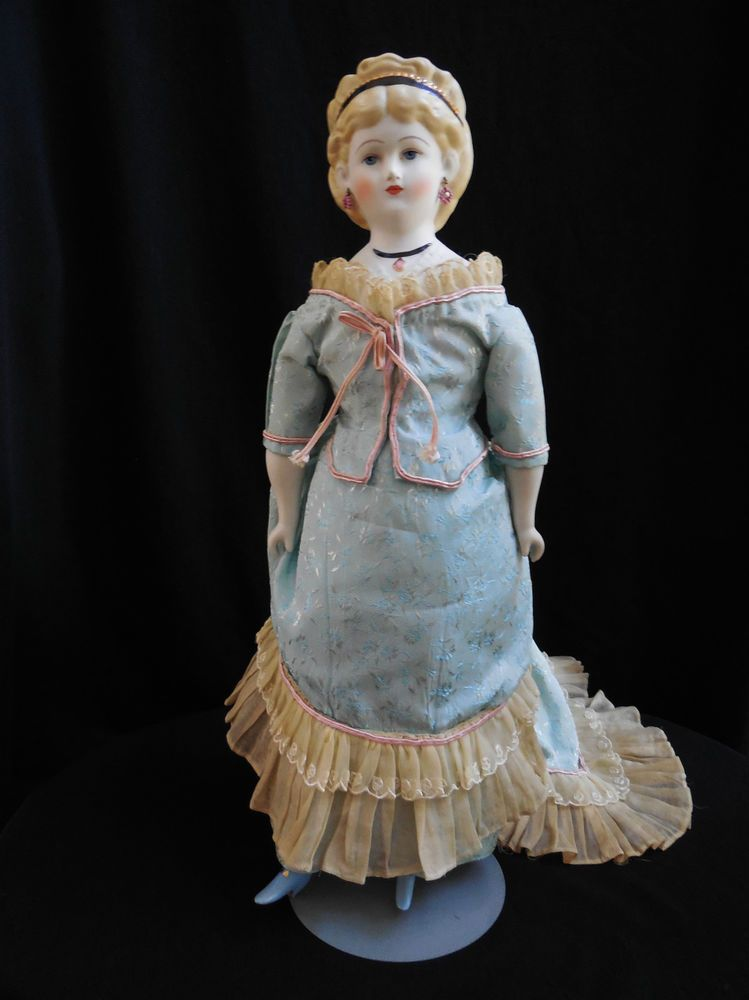 """China Head Doll Clothes, Light Blue Victorian Doll Dress for 16/"""" Huret Fashion"""