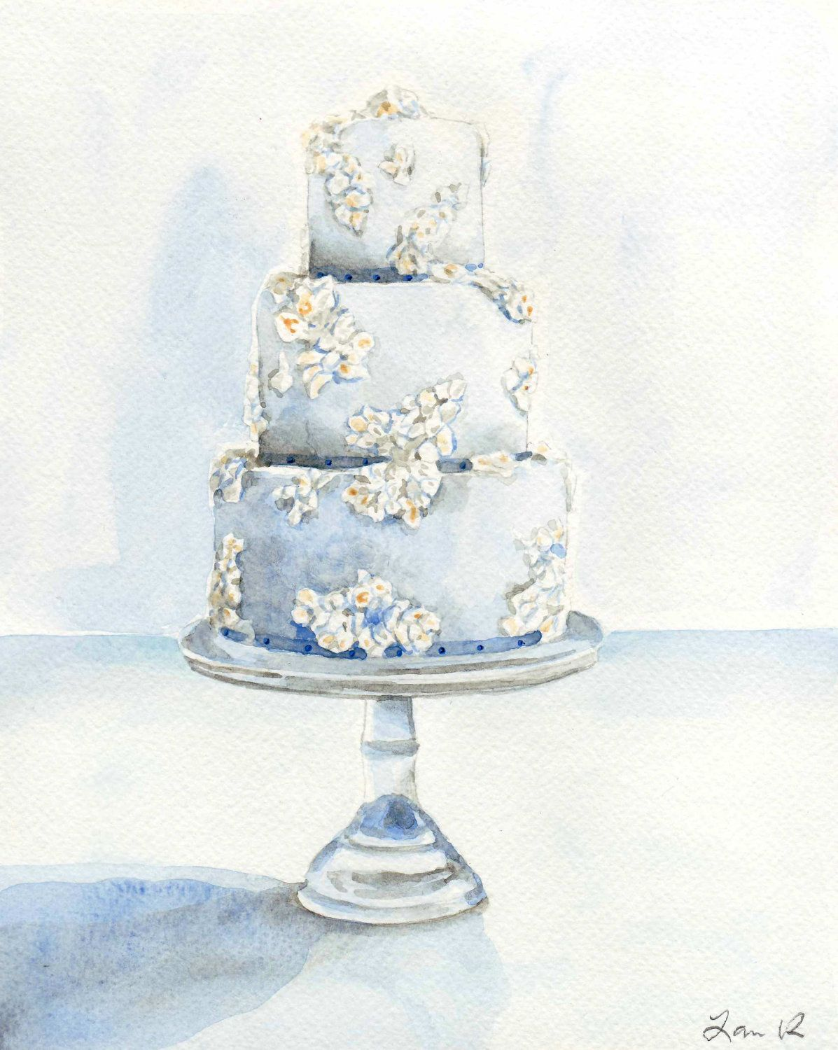 Light Blue Wedding Cake With Flowers Original Watercolor Painting