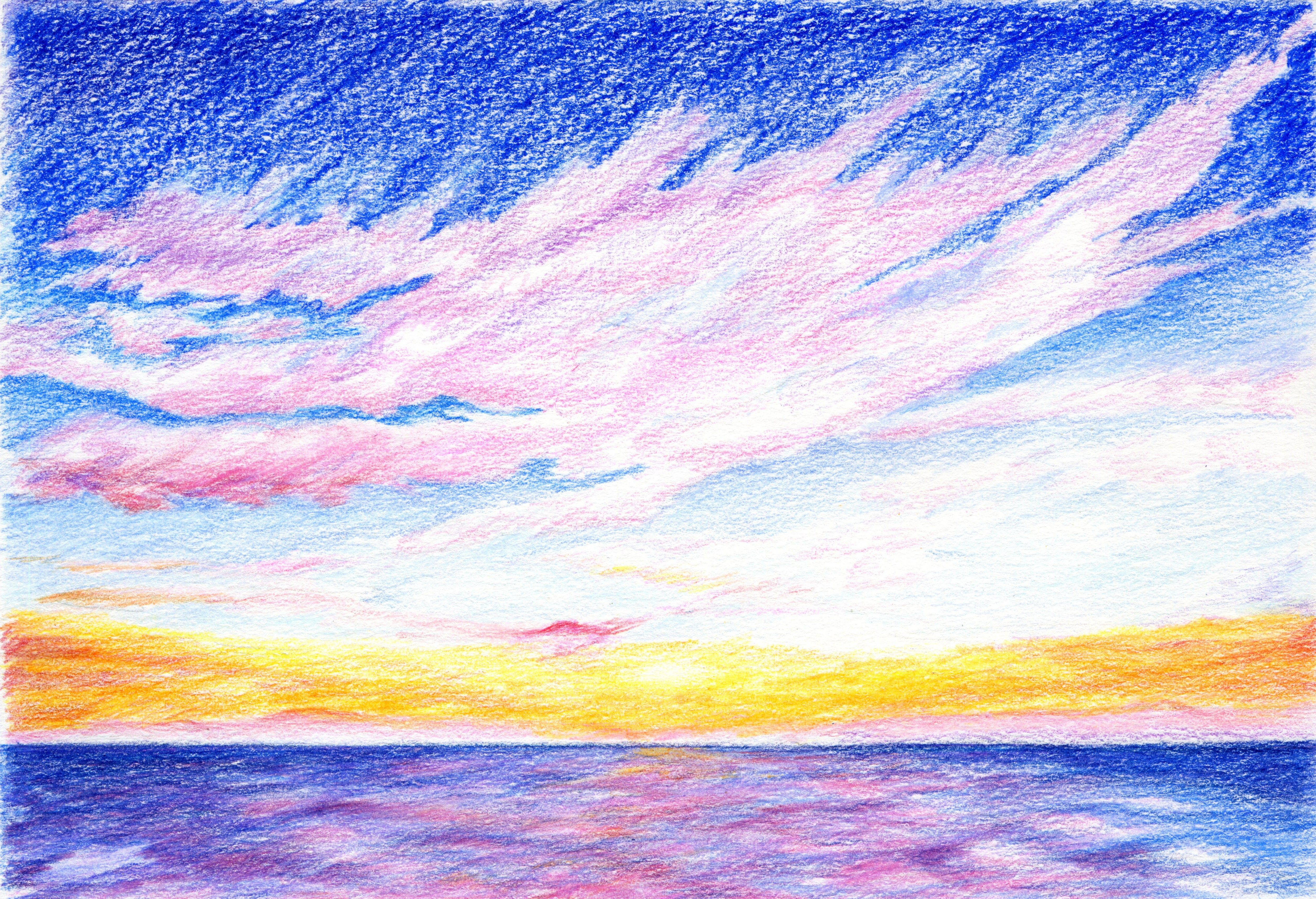 Sunset Drawing With Colored Pencils With Images