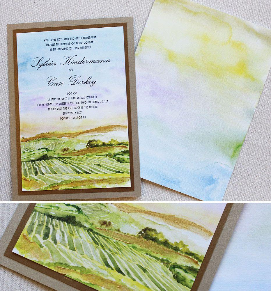Sylvia K. - Watercolor Vineyard Wedding Invitations | Vineyard ...