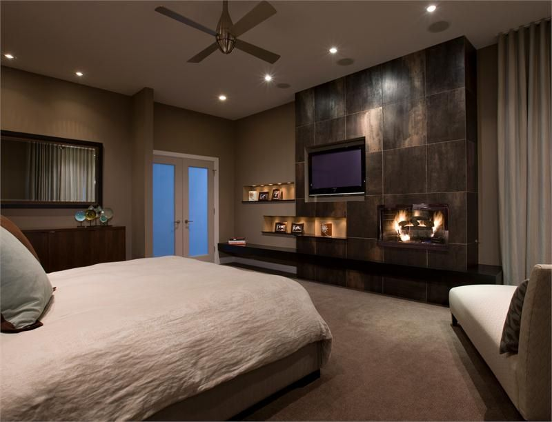 Modern Bedroom Pictures With Tv that's cool! you could do this with one of those fireplaces that