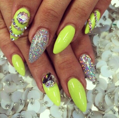 Lime Green Holographic Glitter Rhinestones Neon Nails Neon