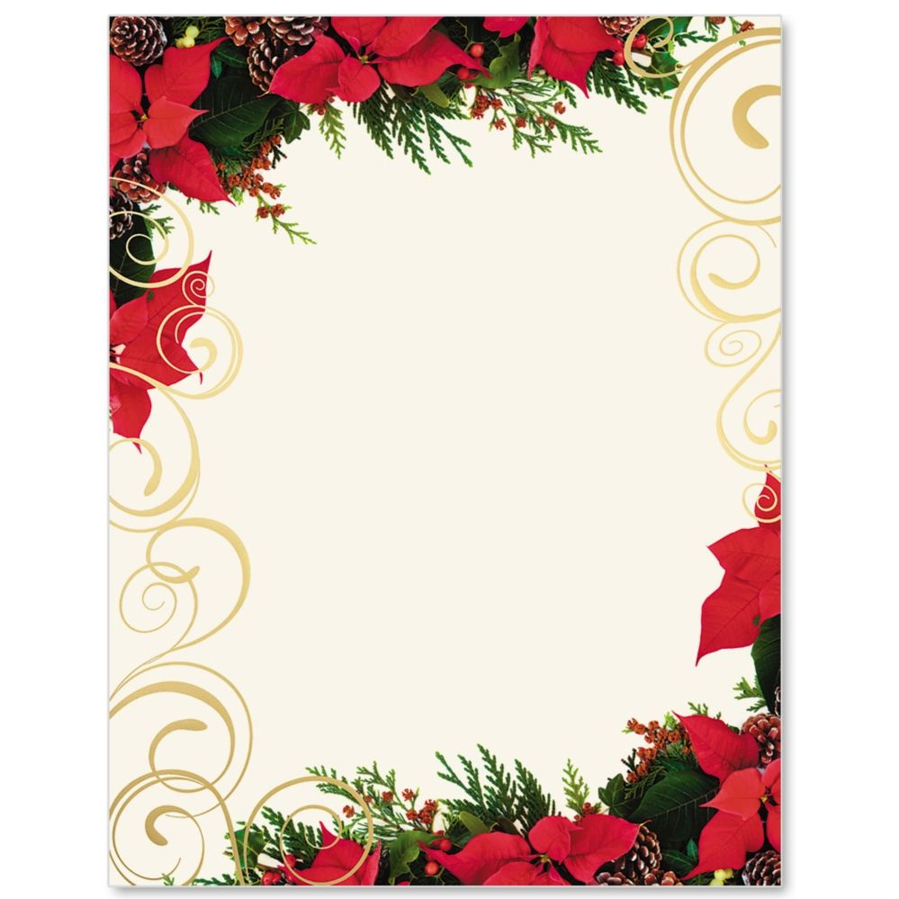 Poinsettia Swirl Specialty Border Papers Borders For Paper Floral Stationery Paper Floral