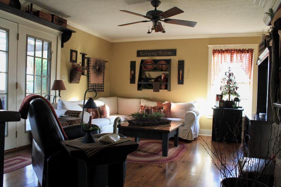 Primitive inspired family room | Primitive Decorating ...