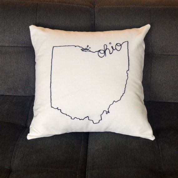 Ohio State Embroidered Decorative Throw Pillow Cover