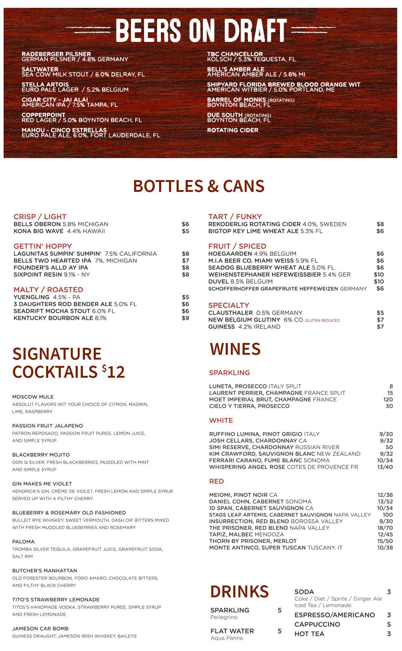 Menu  Brunch  Happy Hour  Cocktails  Steaks  Seafood
