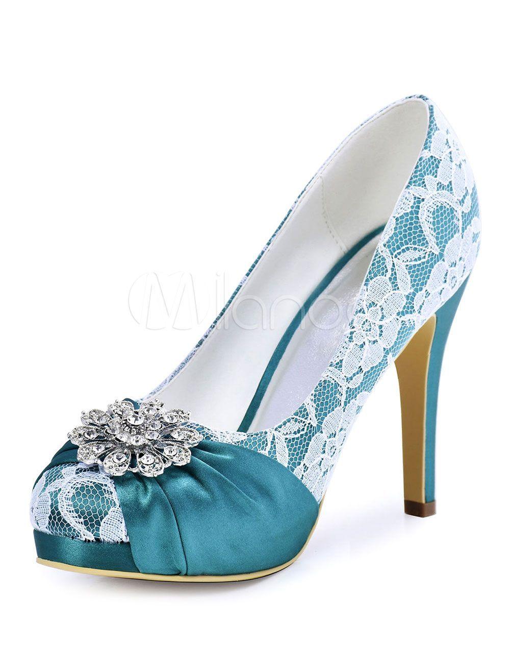 Women S Bridal Shoes Teal Round Toe Rhinestones Slip On High Heel Wedding Shoes Teal Wedding Shoes Rhinestone High Heels Pumps Heels Stilettos