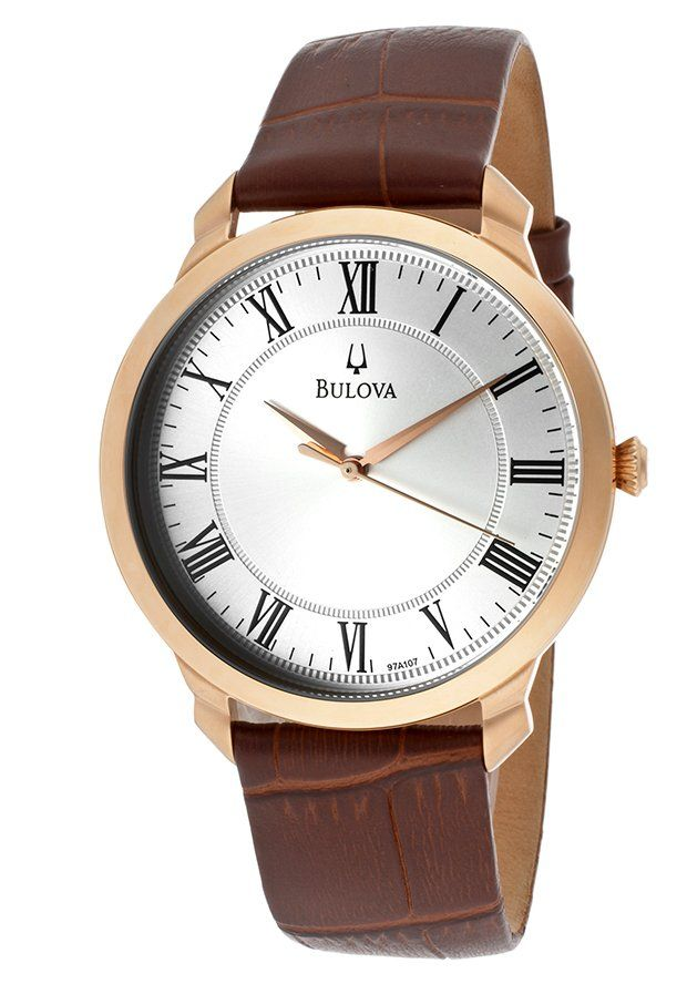 Bulova Watches Men's Brown Genuine Leather Silver-Tone Dial Rose-Tone SS 97A107,    #Bulova,    #97A107,    #Dress