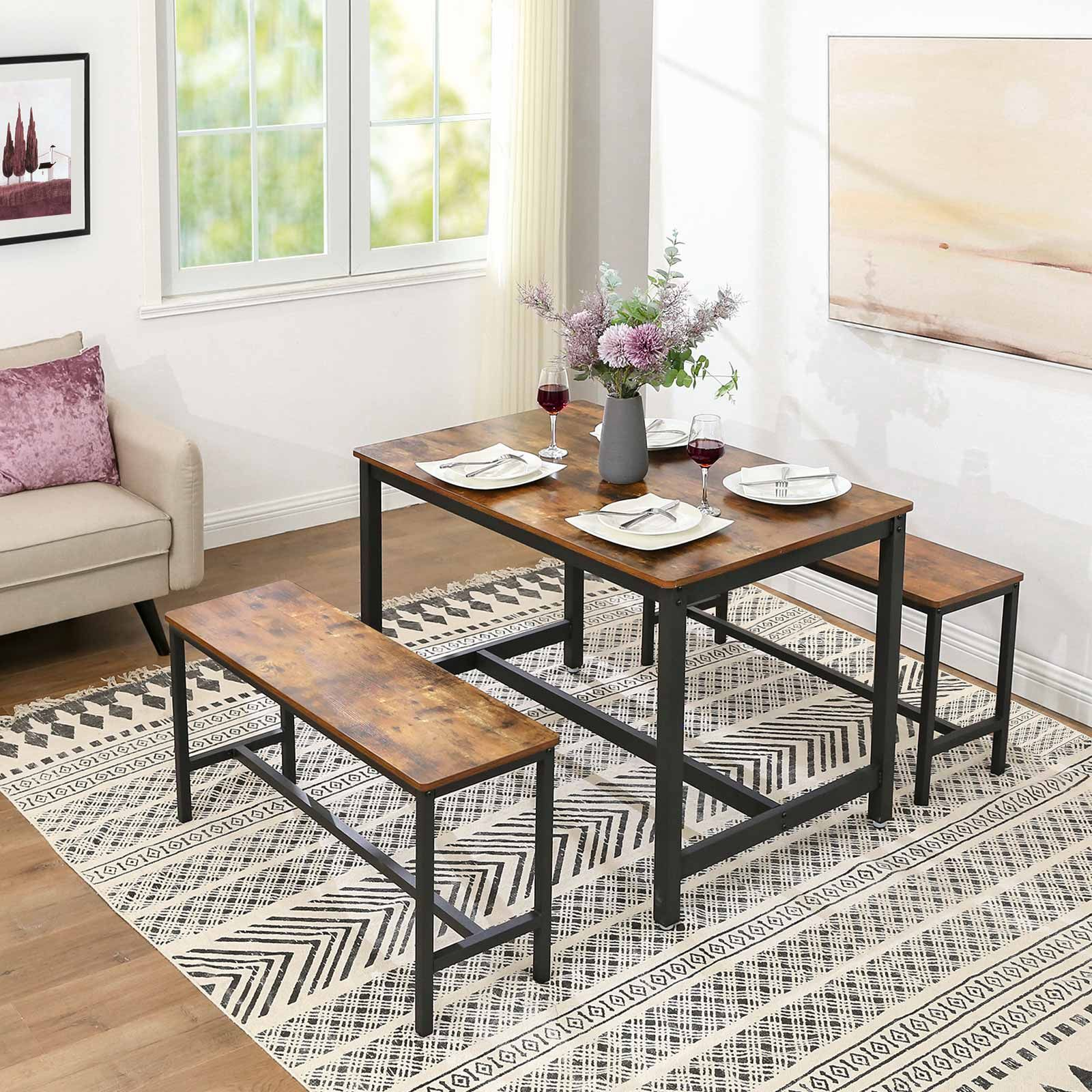 Dining Table Benches Set Of 2 Home Furniture Industrial Style Dining Table Dining Table With Bench Dining Table Setting