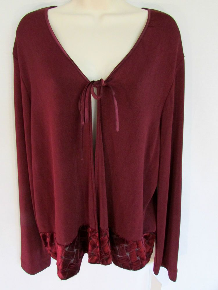 6514afe8e NWT BCBG CARDIGAN SWEATER XL deep red velvet burnout poly stretch long  sleeve #fashion #clothing #shoes #accessories #womensclothing #sweaters  (ebay link)
