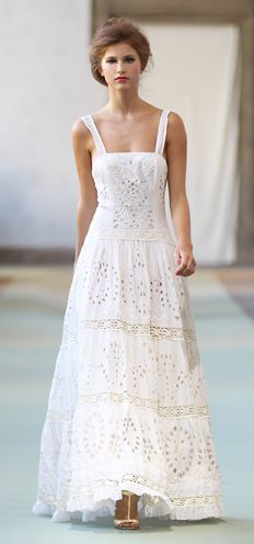 Ivory cotton voile full skirt long dress with embroidery and lace inserts. By Luisa Beccaria