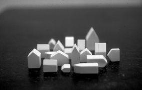 djurdjica kesic, houses (2) , 2001  Plaster, 140 x 140 x 30mm