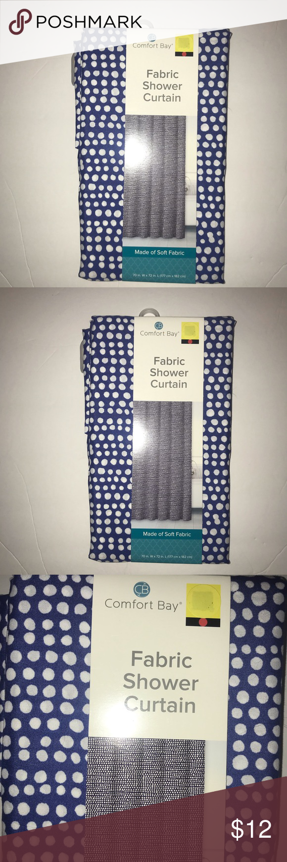 New Comfort Bay Textured Fabric Shower Curtain New Comfort Bay