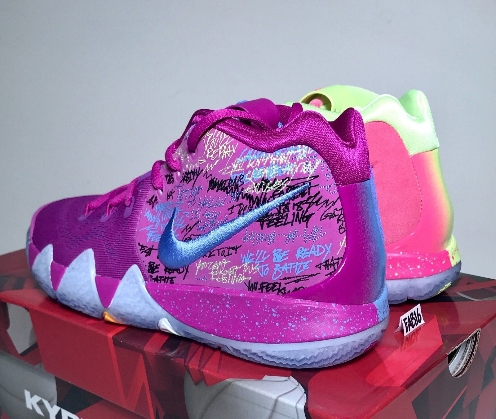 the best attitude fc0dd a3dff Nike Kyrie Irving 4 IV CONFETTI Purple and Yellow Multi Color Mens GS Kids  Boys