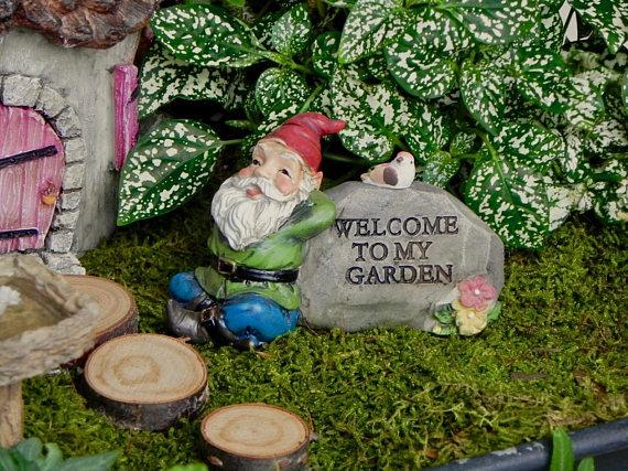 Miniature Gnome Fairy Garden Accessory Welcome To My Garden Sign Gnome Garden Accessories Miniature Frog Miniature Bird Mini Supplies Fairy Garden Accessories Garden Accessories Garden Signs