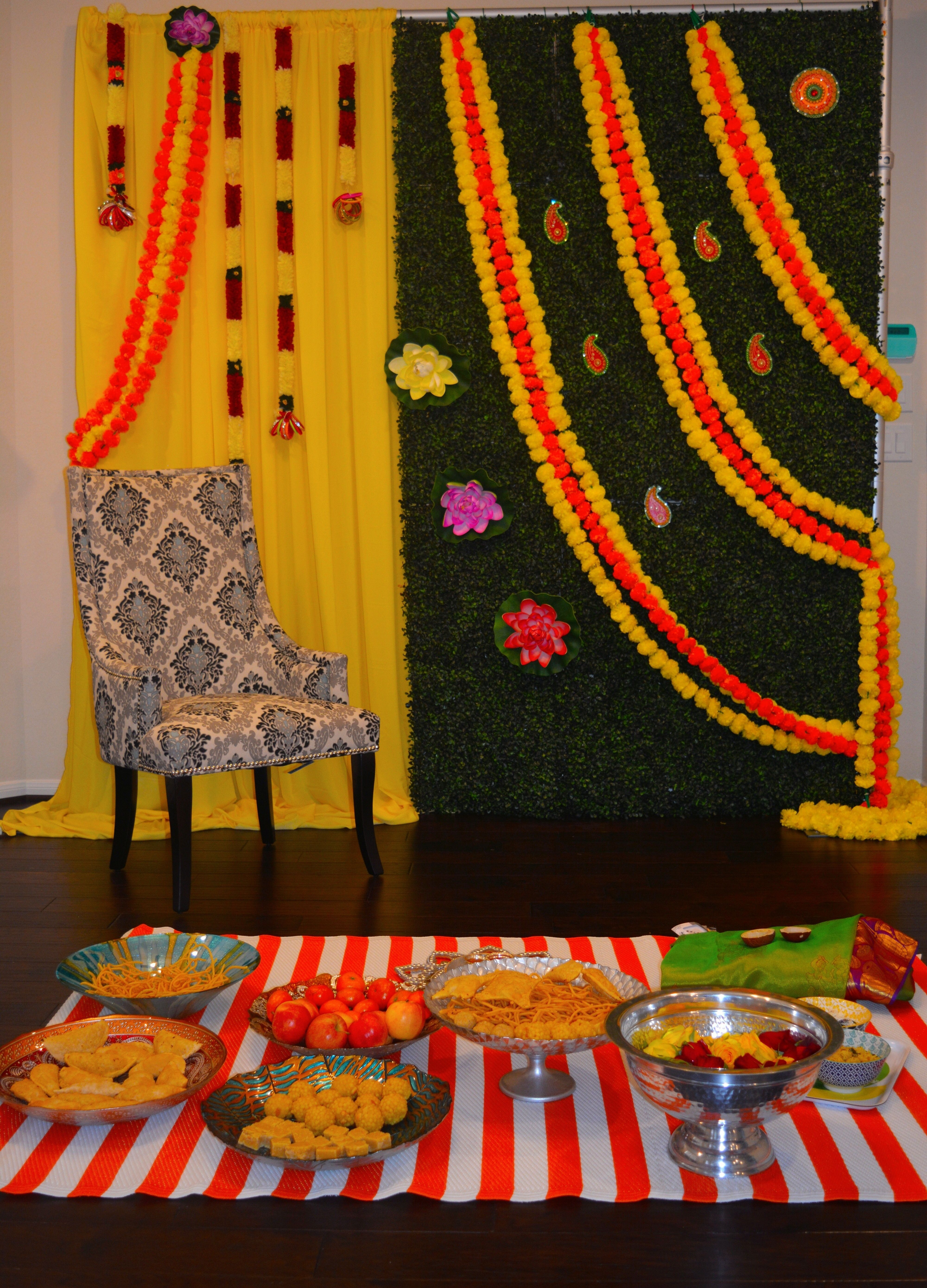 Seemantham South Indian Decoration With Offerings N In 2019 Home Indian Baby Shower Decorations Home Wedding Decorations Indian Decor,What Colours Go With Dark Green Sofa
