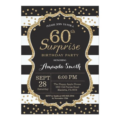 Surprise 60th Birthday Invitation Gold Glitter