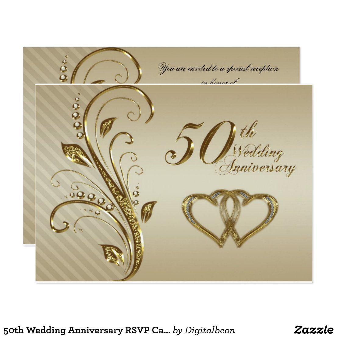50th Wedding Anniversary Rsvp Card Zazzle Com In 2020 50th Anniversary Invitations 50th Wedding Anniversary Invitations Golden Wedding Anniversary Invitations