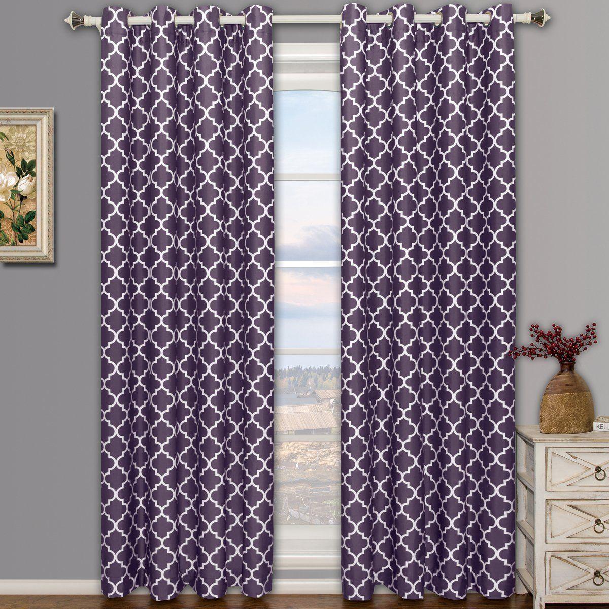 Meridian purple grommet room darkening window curtain panels pair