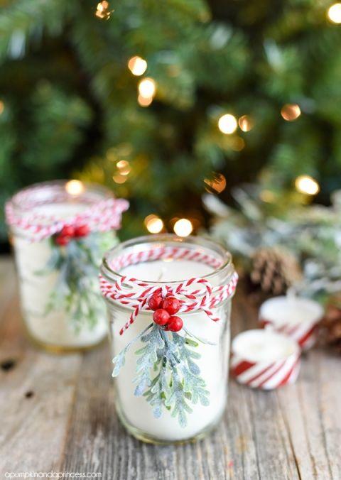 Diy Peppermint Mason Jar Candles Christmas Jars Mason Jar Christmas Gifts Christmas Mason Jars
