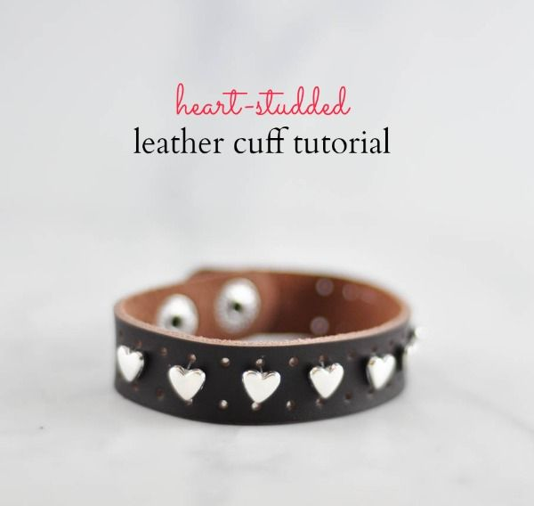 Heart studded leather cuff  - make this sweet little bracelet in less than 5 minutes!   - Suburble.com